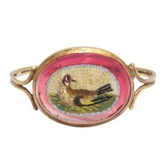 Antique Georgian Micromosaic Goldfinch Passion Ring