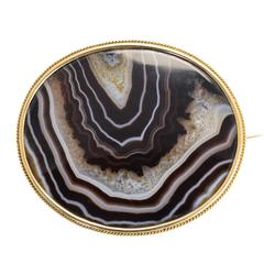 Antique Imperial Russian Banded Agate Gold Brooch