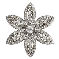 Antique Georgian 7.6 Carat Old Cut Diamond Flower Brooch
