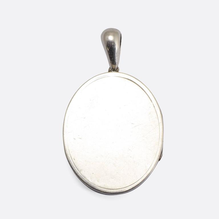 Aesthetic Movement Antique Victorian Sterling Silver Aesthetic Locket For Sale