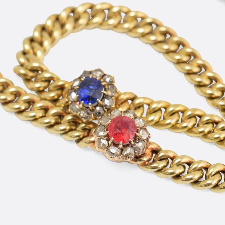 Antique Victorian Ruby Sapphire Diamond Cluster Necklace 2
