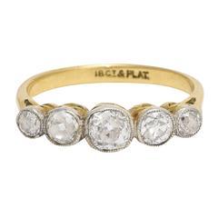 Antique Edwardian Old Mine Cut Diamond Five-Stone Ring