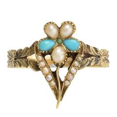 Antique Regency Period Turquoise Pearl Pansy Ring