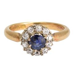 Antique Victorian Sapphire Diamond Round Cluster Ring