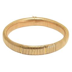 1940s Gold Gaspipe Collar Necklace