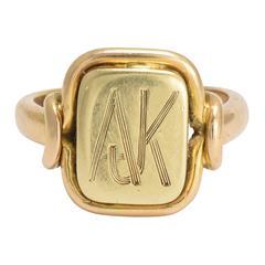Antique Victorian Bramah Key Gold Signet Ring