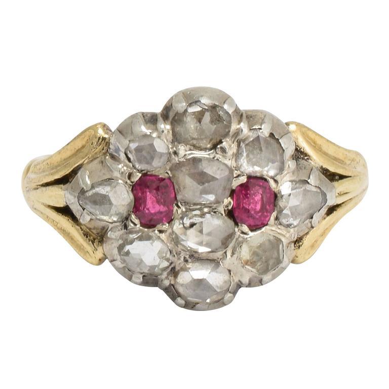 Antique Georgian Ruby Diamond Cluster Ring