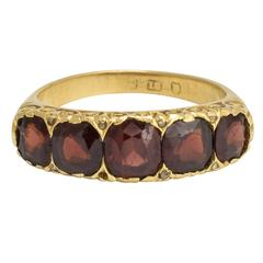 Antique Mid-Victorian Garnet Diamond Five-Stone Ring