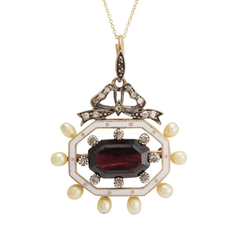 Antique Victorian Garnet Pearl Diamond Enamel Octagon Pendant For Sale