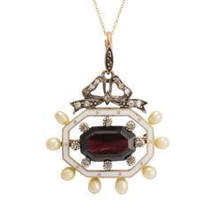 Antique Victorian Garnet Pearl Diamond Enamel Octagon Pendant
