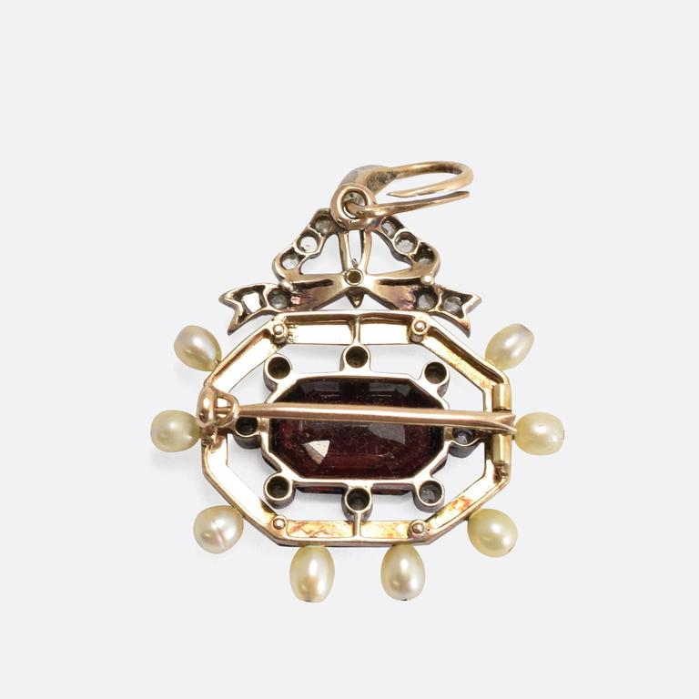 Women's Antique Victorian Garnet Pearl Diamond Enamel Octagon Pendant For Sale