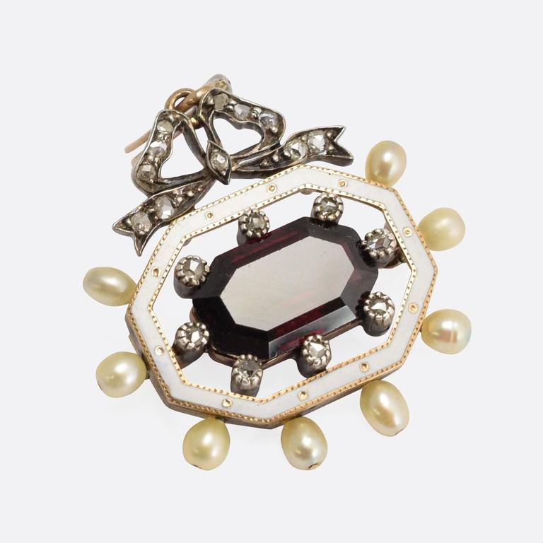 Antique Victorian Garnet Pearl Diamond Enamel Octagon Pendant For Sale 1