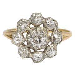 Antique Georgian 1.5 Carat Old Mine Cut Diamond Cluster Ring