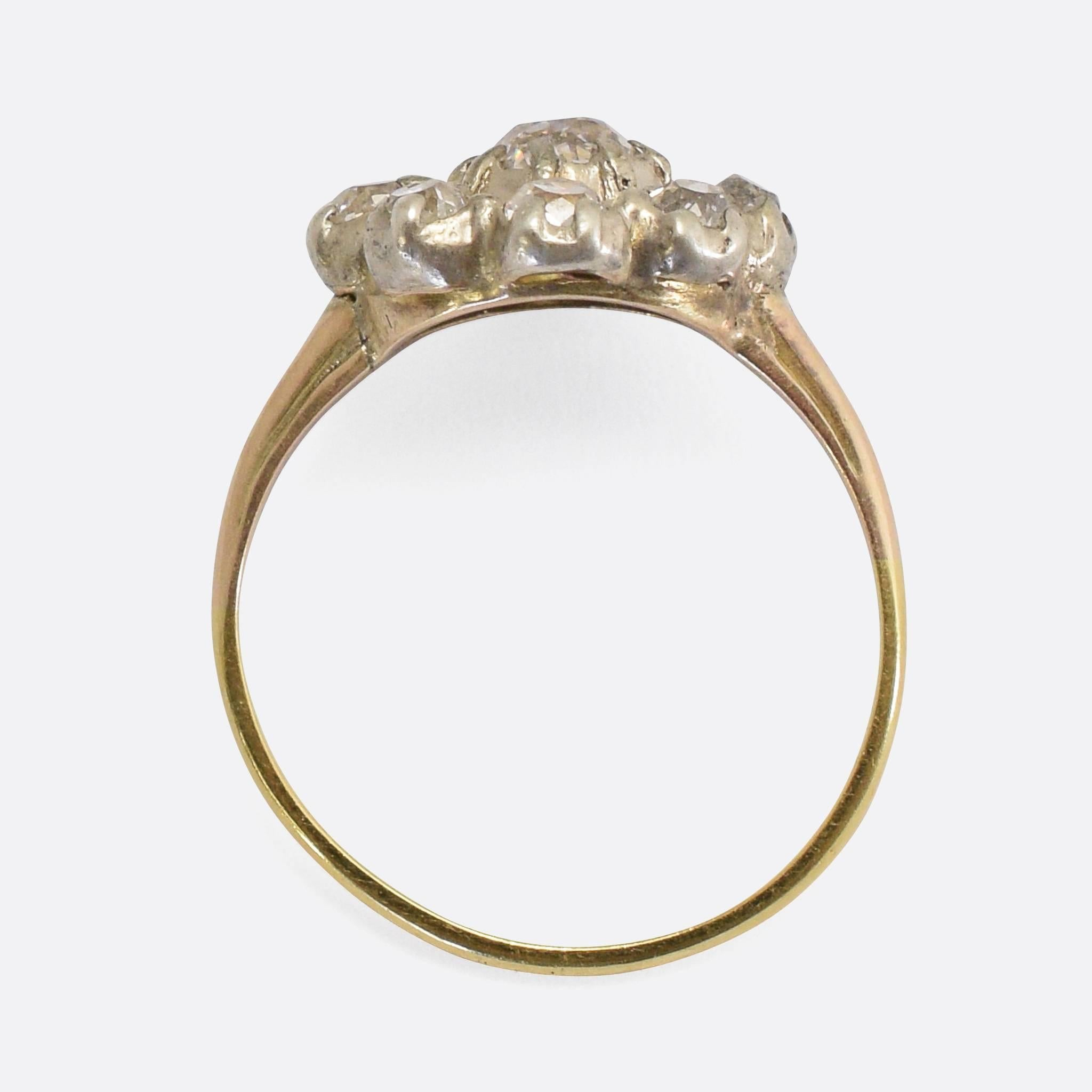 flower gold fiori diamond ring white cluster