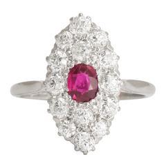 Antique Edwardian Ruby Diamond Platinum Marquise Cluster Ring