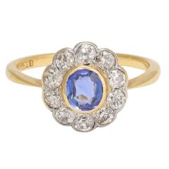 Antique Edwardian Sapphire Diamond Yellow Gold Platinum Cluster Engagement Ring