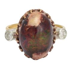 1980s Boulder Opal and Diamond Ring
