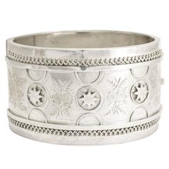 Antique Victorian Etruscan Revival Silver Cuff Bangle