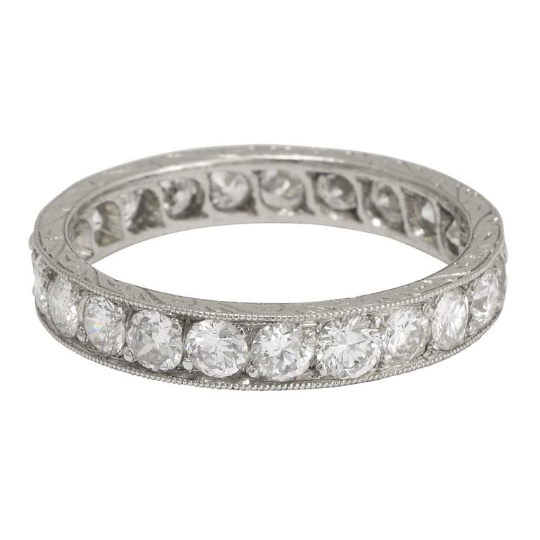 1910s Edwardian 2.3 Carat Old Cut Diamond Platinum Eternity Band 1