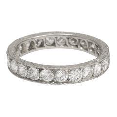 1910s Edwardian 2.3 Carat Old Cut Diamond Platinum Eternity Band
