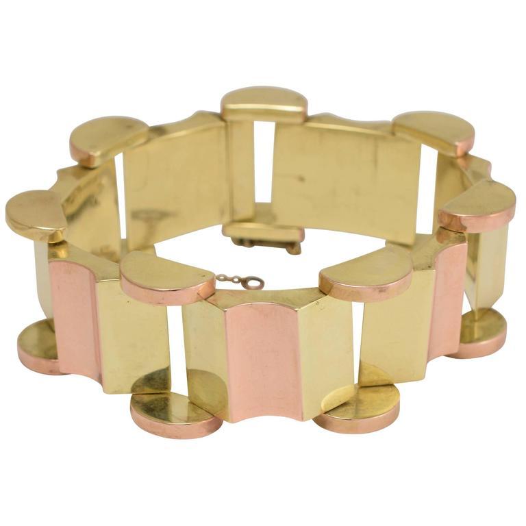 1940s Retro Two Color Gold Bracelet