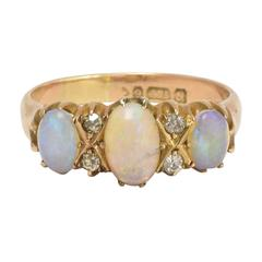 Antique Edwardian Opal Diamond Three-Stone Gold Ring