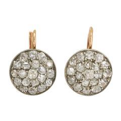 Antique Victorian Cobble Stone Diamond Cluster Earrings