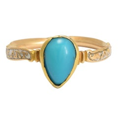 Georgian Turquoise White Enamel A Friend's Heart Ring