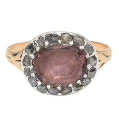Antique Georgian Amethyst Rose Cut Diamond Cluster Ring