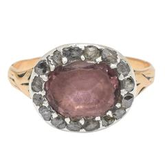 Antique Georgian Amethyst Rose Cut Diamond Cluster Ring
