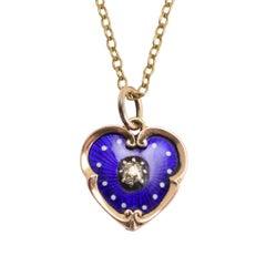 Antique Victorian Blue Enamel Diamond Heart Charm Pendant