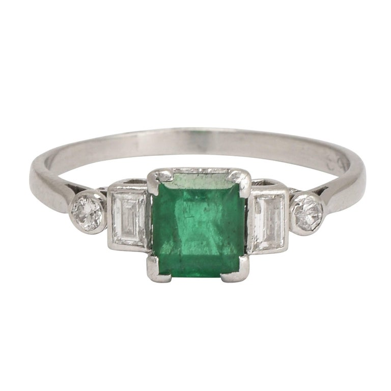 deco emerald engagement ring at 1stdibs