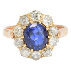 Late Victorian Sapphire Diamond Cluster Ring