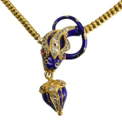 Mid-Victorian Diamond Ruby Blue Enamel Snake Collar