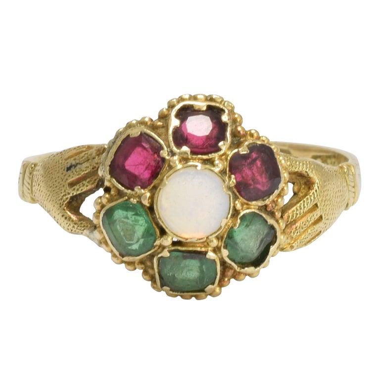 1860s Victorian Opal Emerald Garnet Fede Ring