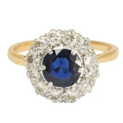 Antique Edwardian Sapphire Diamond Round Cluster Ring