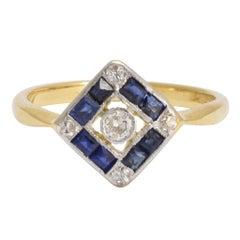 Art Deco Sapphire Diamond Square Cluster Ring