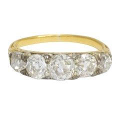 Antique Mid-Victorian Cushion Cut Diamond Five-Stone Ring
