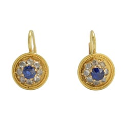 Antique Etruscan Revival Sapphire Diamond Cluster Earrings