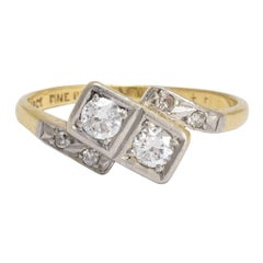 "Art Deco ""Toi et Moi"" Diamond Crossover Engagement Ring"