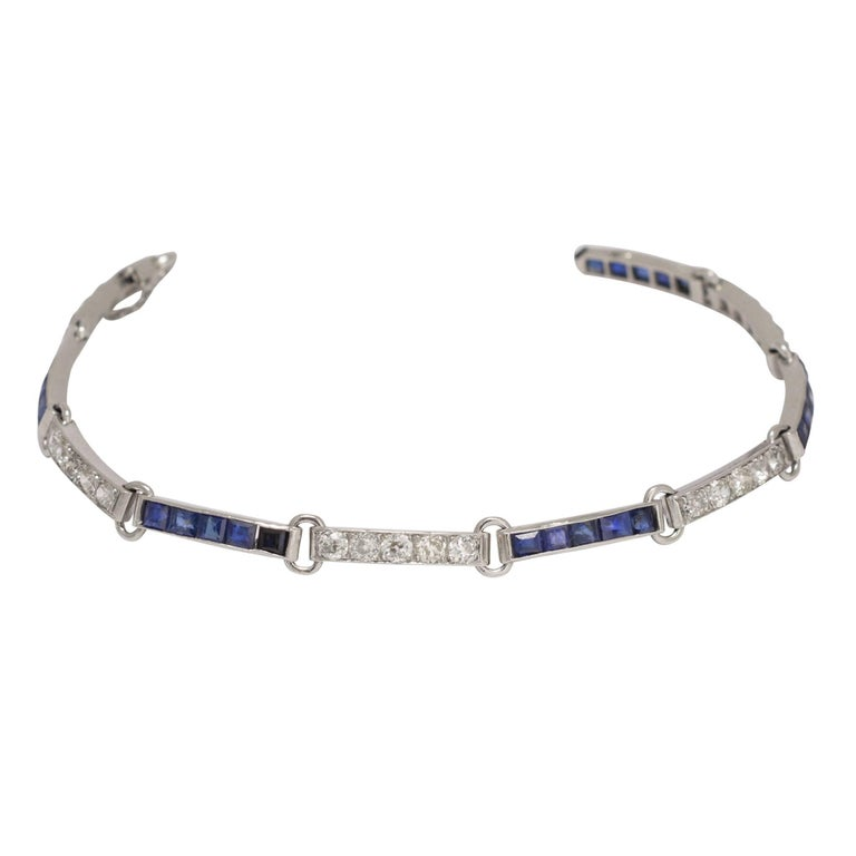 1920s Art Deco Sapphire Diamond Bracelet For Sale