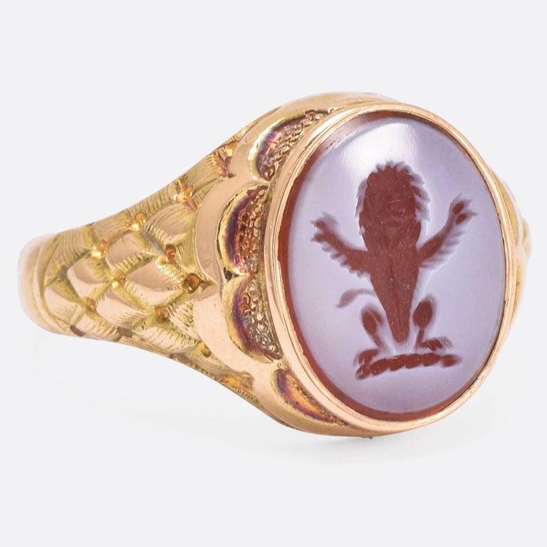 1862 Victorian Heraldic Lion Intaglio Signet Ring At 1stdibs