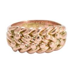 Antique Edwardian Rose Gold Braided Keeper Ring