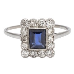 """Edwardian Blue Sapphire and Diamond """"Picture Frame"""" Ring"""