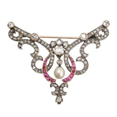 Late Victorian Diamond Ruby Pearl Brooch