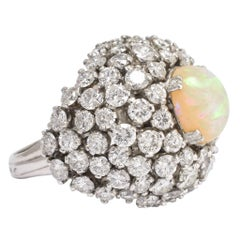 Vintage 1940s Opal Diamond Bombé Ring