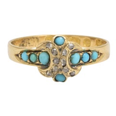 Mid-Victorian Turquoise Diamond X Ring