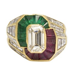 1980s Diamond Emerald Ruby Cocktail Ring