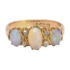 Edwardian Opal Diamond Three-Stone Ring