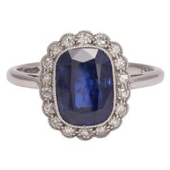 Edwardian Natural Sapphire Diamond Engagement Ring